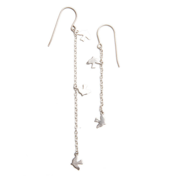 alice eden Jewellery jewelry silverbird charm asymmetrical drop earrings