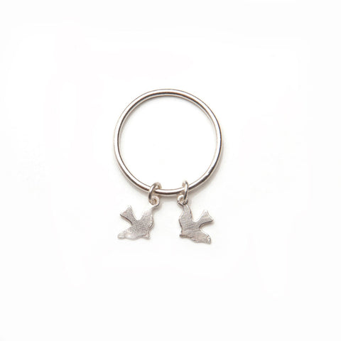 alice eden jewellery jewelry Silver Bird Charm Stacking pinkie layer Ring