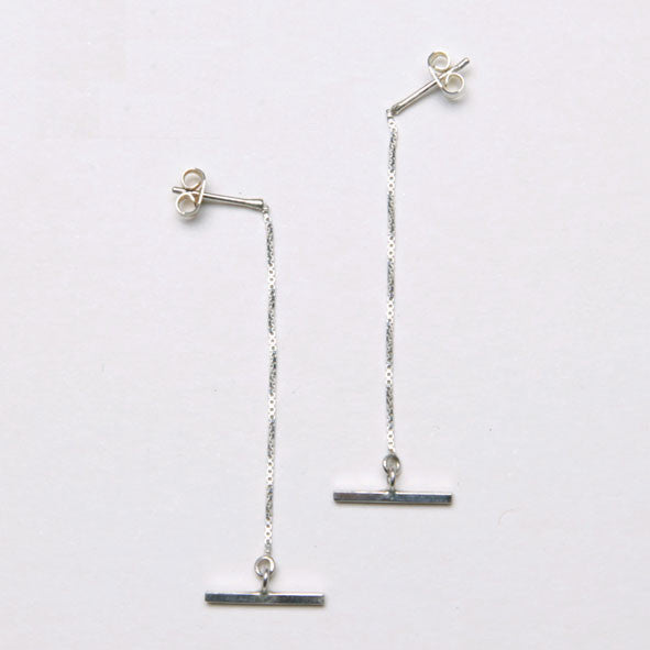 alice eden jewellery dot dash silver t bar box chain drop earrings jewelry