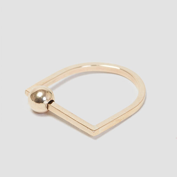 Alice Eden Jewellery Dot Dash Gold U Shaped Bead Ring jewelry