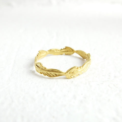 Gold Feather Totem Ring