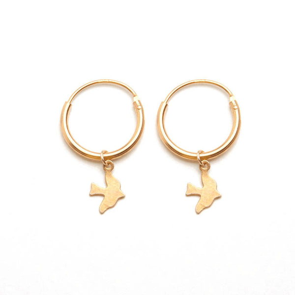 alice eden jewellery jewelry gold bird charm hoop creole sleeper earrings