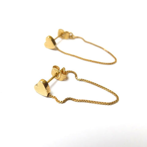Gold Heart Box Chain Loop Earrings
