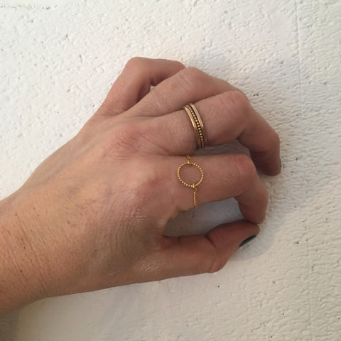 Gold Beaded Circle Chain Ring