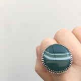 green banded agate gemstone ring in sterline silver - worn on hand