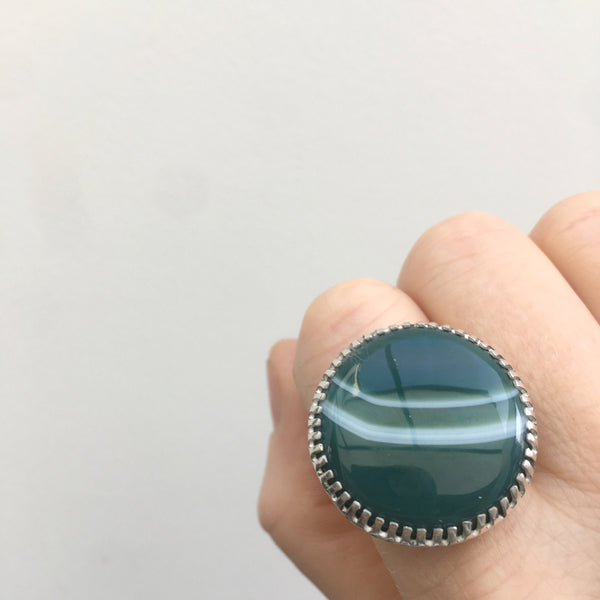 Banded Green Agate Gemstone Ring Set in Sterling Silver