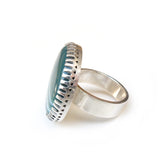 green banded agate gemstone ring in sterline silver - silver ring