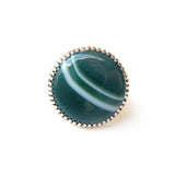 green banded agate gemstone ring in sterline silver - top view