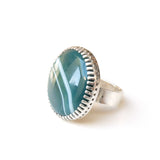 green banded agate gemstone ring in sterline silver - from left