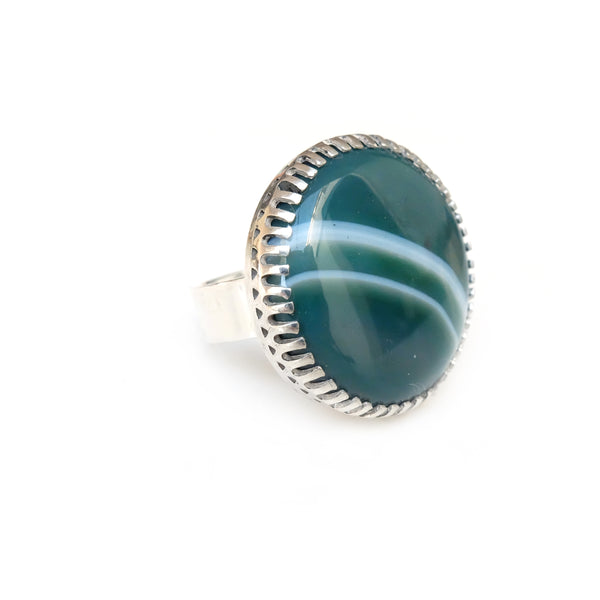 green banded agate gemstone ring in sterline silver - silver band