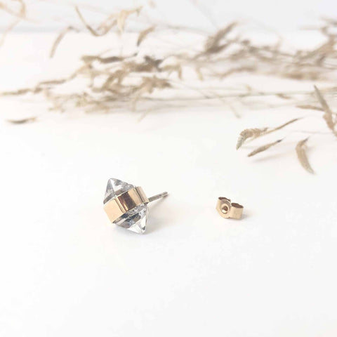 9ct Gold Herkimer Diamond Gemstone Single Stud Earring