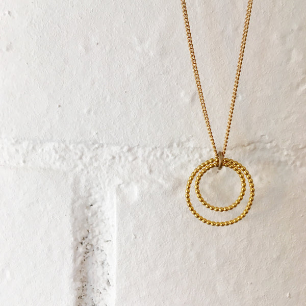 Gold Infinity Double Ring Necklace