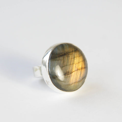labradorite round gemstone ring in sterling silver - semi precious stone rings