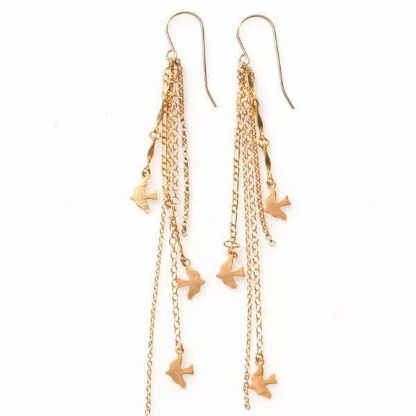 alice eden jewellery jewelry gold layered chain bird charm drop earrings