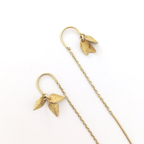 Gold Leaf Thread Through Chain Earrings