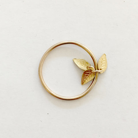 Gold Leaf Charm Stacking Ring