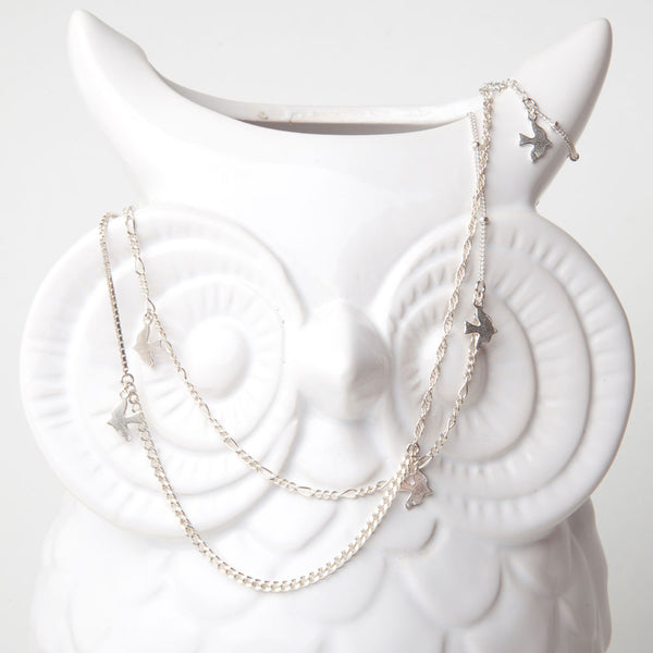 alice eden jewellery jewelry long delicate silver wrap around layered bird necklace