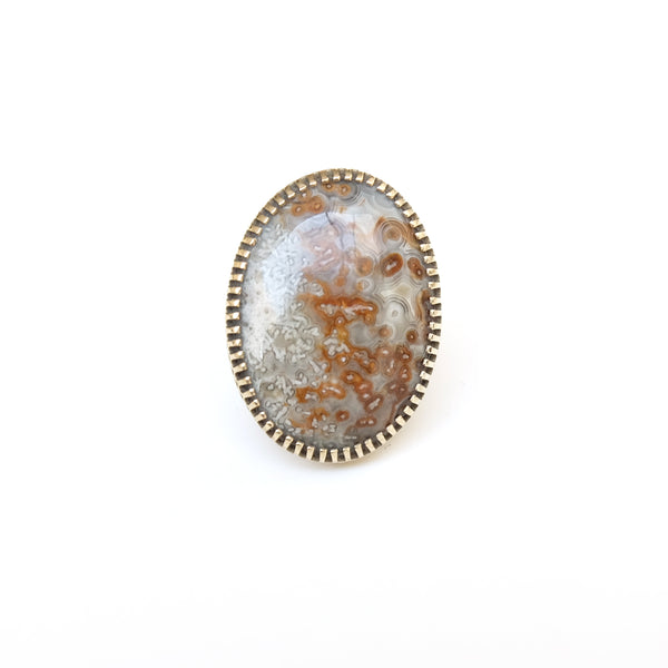 Mexican Lace Agate Gemstone Ring - Silver & Gold - front view - handmade