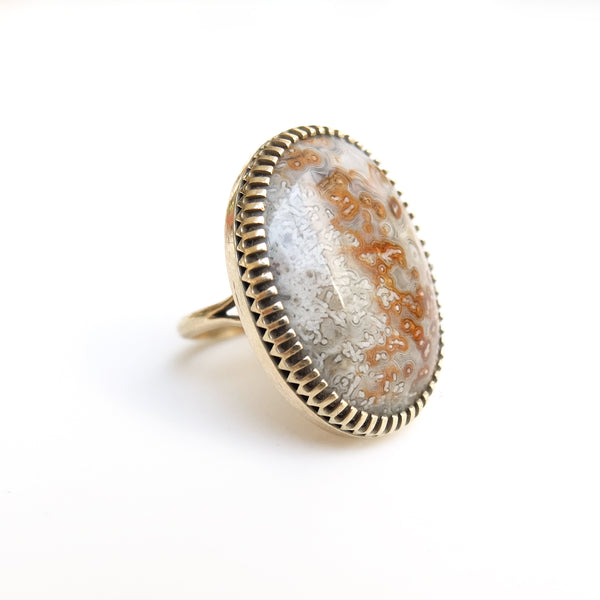 Mexican Lace Agate Gemstone Ring - Silver & Gold - side view - handmade