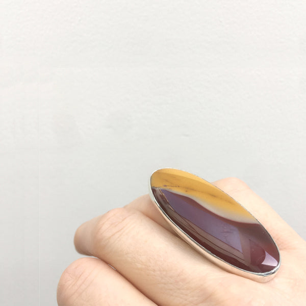 Mookaite Oval Gemstone Ring set in Sterling Silver