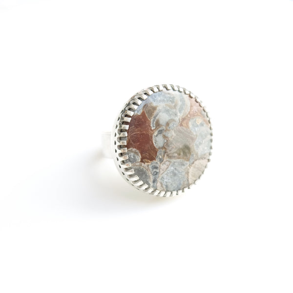 Rare Mushroom Jasper Gemstone Ring Set in Sterling Silver