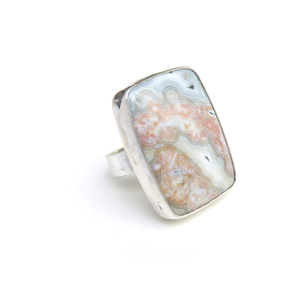 Rare Pink Ocean Jasper Gemstone Ring Set in Sterling Silver