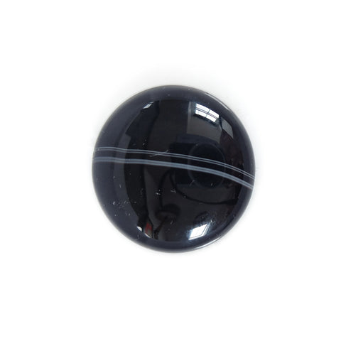 black banded agate gemstone round - handmade rings UK