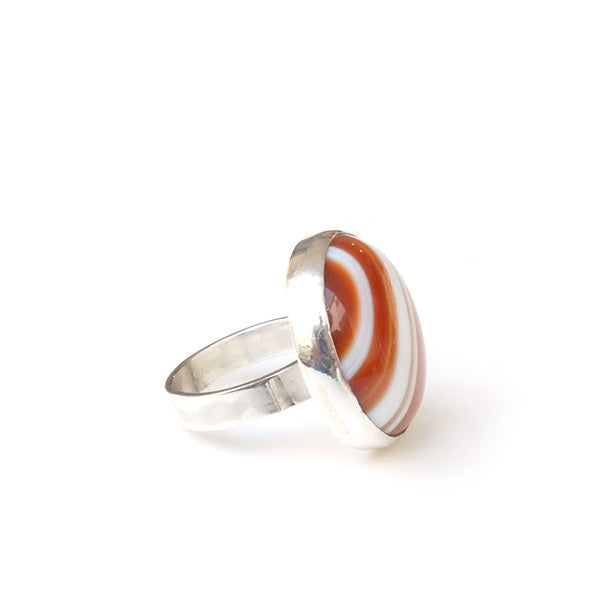 ORANGE BANDED AGATE  GEMSTONE RING SET IN STERLING SILVER