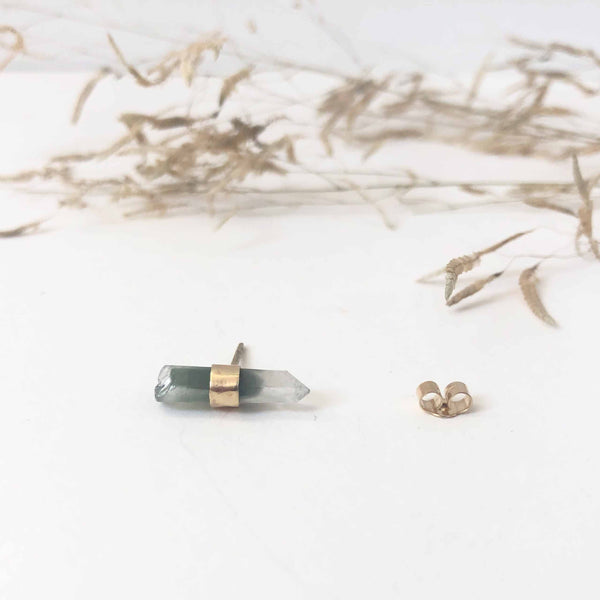 9ct Gold Phantom Quartz Gemstone Single Stud Earring