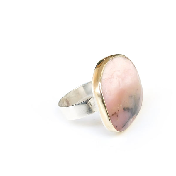 Pink Opal Gemstone Ring set in 9ct Gold & Sterling Silver