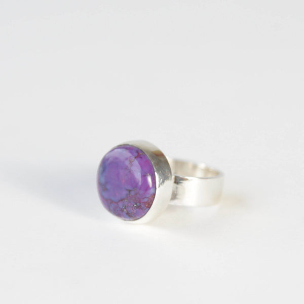Purple Turquoise Round Gemstone Ring