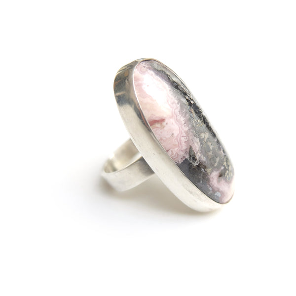 Rhodonite Gemstone Ring Set in Sterling Silver