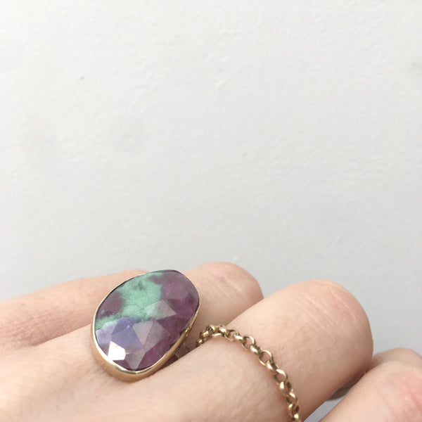 Ruby Zoisite Faceted Gemstone Ring set in 9ct Gold & Sterling Silver