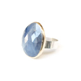 SAPPHIRE GEMSTONE RING SET IN 9CT GOLD & STERLING SILVER
