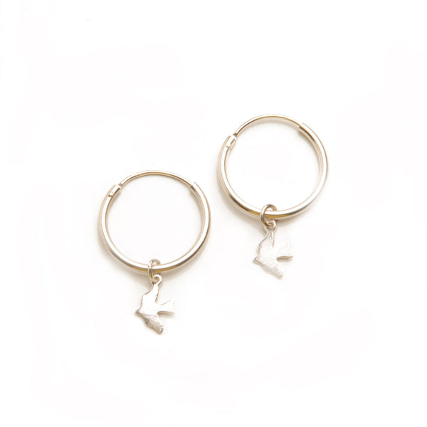 alice eden jewellery jewelry silver bird charm hoop creole sleeper earrings