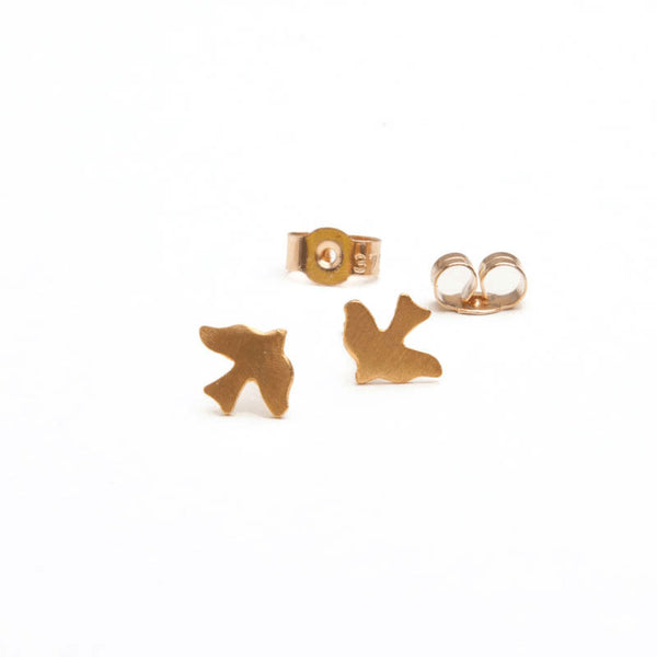 alice eden jewellery jewelry gold bird charm stud earrings