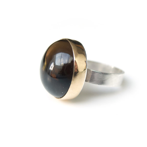 Smoky Quartz Gemstone Ring Set in 9ct Gold & Sterling Silver