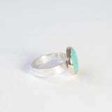 bright small turquoise gemstone ring set in 9ct gold with silver ring - right side