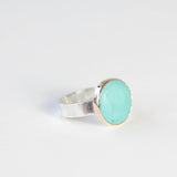 Tibetan Turquoise Gemstone Ring Set in 9ct Gold