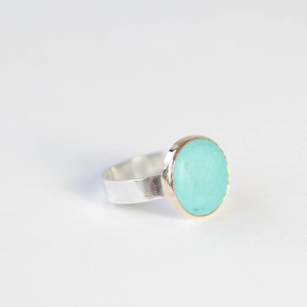 bright small turquoise gemstone ring set in 9ct gold with silver ring - front right