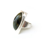 Oval tigers eye gemstone ring set in square sterling silver setting