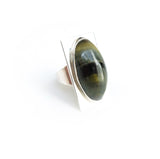 Oval tigers eye gemstone ring set in square sterling silver setting - right side