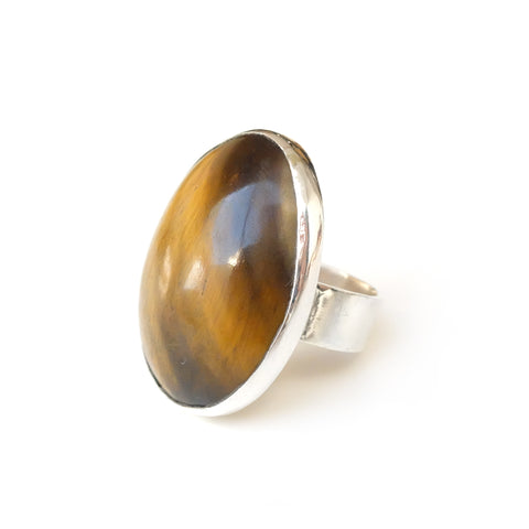 Oval Tigers Eye Gemstone Ring set in sterling Silver