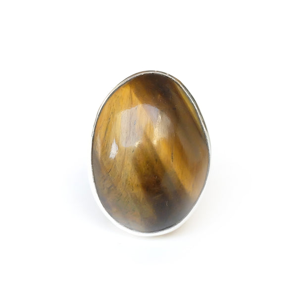 Tigers Eye Gemstone Ring Set in Sterling Silver