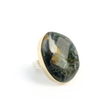 Wavelite Gemstone Ring Set in 9ct Gold & Sterling Silver