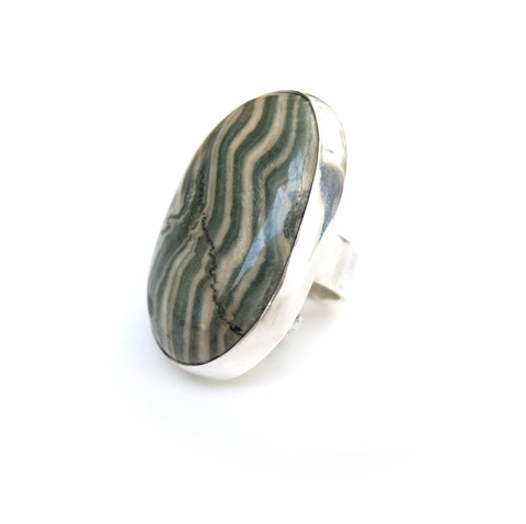 Large Zebra Jasper Modernist Gemstone Ring set in Sterling Silver
