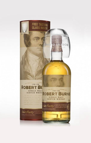 Robert Burns Single Malt Scotch Whisky from Arran with glass set