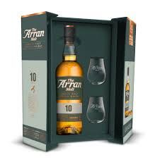 Arran 10 year old Whisky Gift Pack with two glasses
