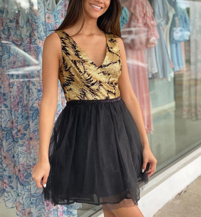 Black & Gold Lucinda Dress-Le Menina Boutique