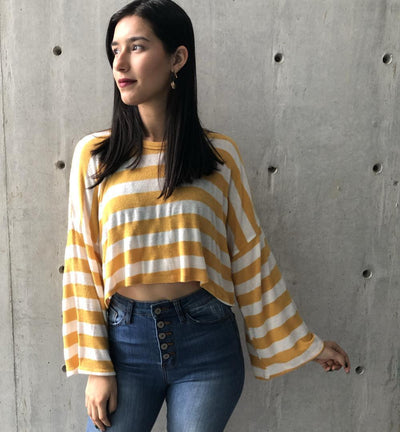 Mustard & White Stripes Top-Tops-Le Menina Boutique